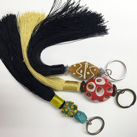 Keychain/Tassels/Beads/Multicolor Tassel/Silver or Brass Metal carving/Boho Key chain/Zen/Yoga *FREE SHIPPING to AUSTRALIA