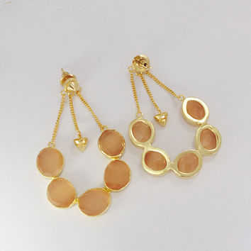 Rose Quartz Earrings - Gold Plated Earrings - Gemstone Earrings - Faceted Earring - Fashion Earrings - Gold Chain Earrings - Dangle Earrings