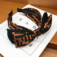 FENDI Stylish Women Cute Bowknot Hair Band Head Hoop Headband Accessories Coffee