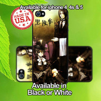 Kuroshitsuji Black Butler Iphone 4 4s 5 Black or White Hard Case USA Seller - Made to order
