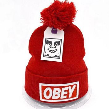 Obey Women Men Embroidery Beanies Knit Wool Hat Cap-7