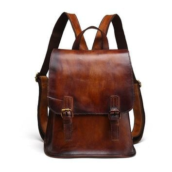 Vintage Retro Brush Color Women's Genuine Leather Backpack Girl Lady's School Bag Messenger Shoulder Pack LS9914