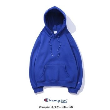 Champion 2018 autumn new tide brand classic embroidery logo plus velvet hoodie sweater Blue