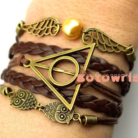 Bronze Two Owl Harry Potter Deathly Hallows Two Wings Bracelet  Wax Cords Leather Bracelet Personalized Bracelet