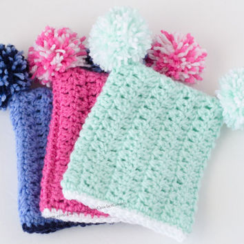 Square Hat with Pom-Poms, Baby girl hat, Baby boy Hat, Crocheted Baby Hat, Pink Hat, Pastel Hat,