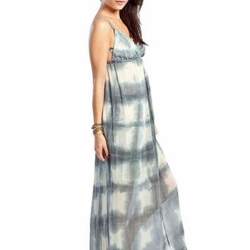 Gypsy 05 Checkerboard Silk Maxi Dress in Dark Grey