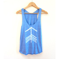 Tribal Arrow Racerback Hand Stenciled Slouchy Scoop Neck Swing Tank Top in Heather Blue and White - XS S M L