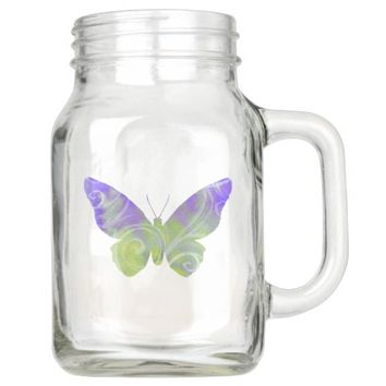 Mason Jar Pastel Purple Butterfly Mug