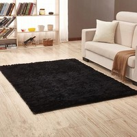 Shaggy Home  Rug - Black