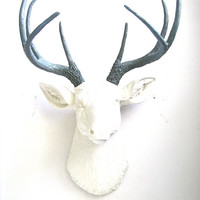 Faux Taxidermy Deer Head wall mount wall hanging office home decor: Deerman in white with gray/grey antlers