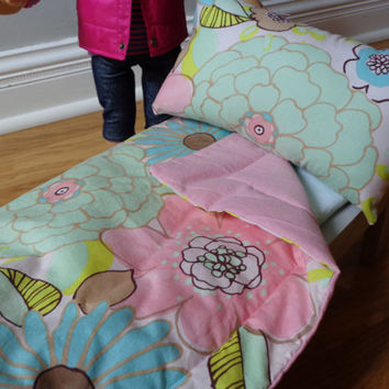 Light Pink Floral & Light Pink American Girl and 18-inch Doll Bedding Set