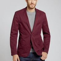 The Washed Chino Blazer - Burgundy