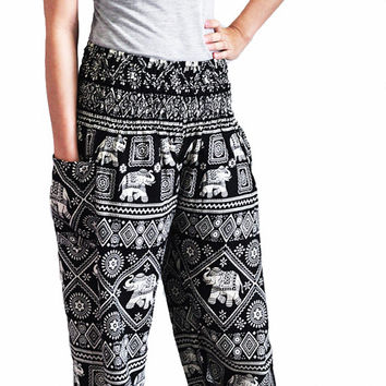 bohemian pants/hippie clothes/elastic waist/Aladdin Pants/Yoga pants/Harem pants/peacock design/elephant thai pants/boho pants/gypsy pants