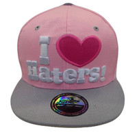 I Love Haters Two Tone Snap Back Hat snap back hat In Pink/Gray