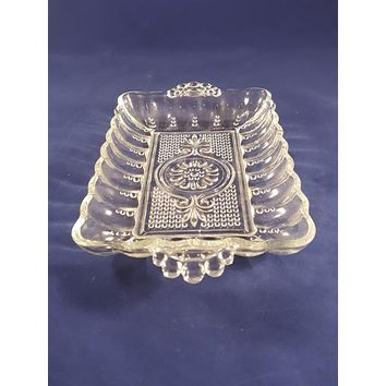 Anchor Hocking Pressed Glass Dots Relish Tray