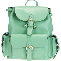 ROMWE | Green PU Leather Backpack, The Latest Street Fashion
