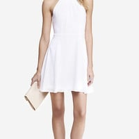 WHITE FIT AND FLARE HALTER DRESS from EXPRESS