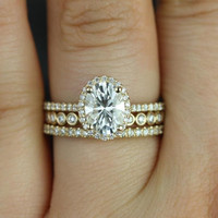 Rebecca & Petite Bubbles 14kt Yellow Gold Oval FB Moissanite and Diamond Halo TRIO Wedding Set (Other metals and stone options available)