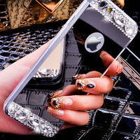 Rhinestone Diamond Glitter Mirror Cellphone Case Apple iPhone 6 6s 4.7/Plus/5 5s Dual