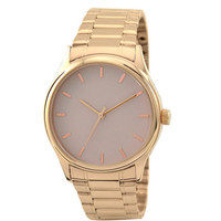 Rose Gold Watch with rose gold indexes in creamy face with metal band
