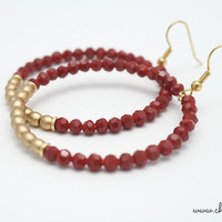 RED AND GOLD Hoop Earrings by Cheydrea