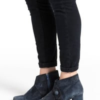 Vintage 70s Slate Blue Suede Heeled Ankle Boots | 7.5