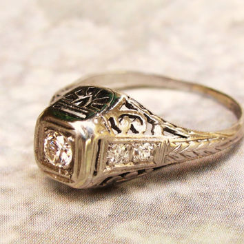Antique Engagement Ring Petite Old European Cut Diamond 18K White Gold Filigree Diamond Wedding Ring Art Deco Engagement Ring Promise Ring