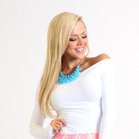 Amazing Seamless White Off The Shoulder Long Sleeve Top