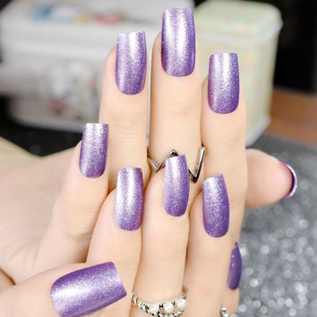 Fashion Sparkly Glitter Fake Nails Long Shimmer Square Purple Press On Nails with Glue sticker Manicure Tips DIY 24pcs/kit