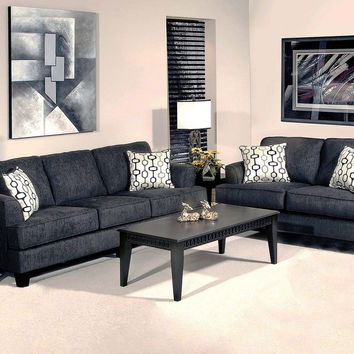Soprano Black sofa and loveseat by Serta Upholstery
