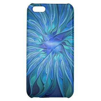 Blue Flower Fantasy Pattern, Abstract Fractal Art iPhone 5C Case
