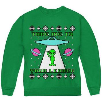 PEAPGQ9 Alien Take Me to Your Leader Ugly Christmas Sweater Youth Sweatshirt