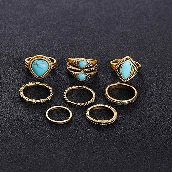 FAMSHIN  New 8pcs / sets Fashion Vintage Punk Midi Rings Set Antique Gold Color Boho Style Female Charms Jewelry Ring For Women