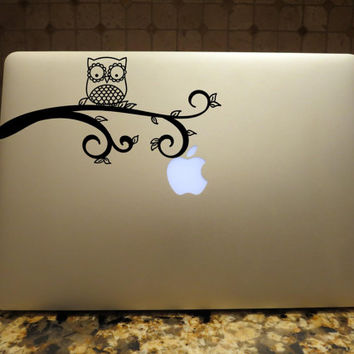 Owl on a Tree Branch Decal Custom Vinyl Computer Laptop Car auto vehicle window decal custom sticker Decal