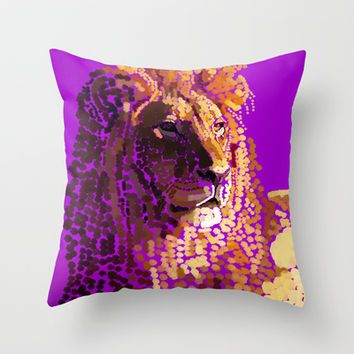 LION: THE KING OF BEASTS- PART I Throw Pillow by Rebecca Allen