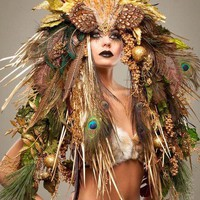 Made To Order Fantasy Woodland Fairy Nymph Goddess Headdress Headpiece Gaga Steampunk Burlesque Costume