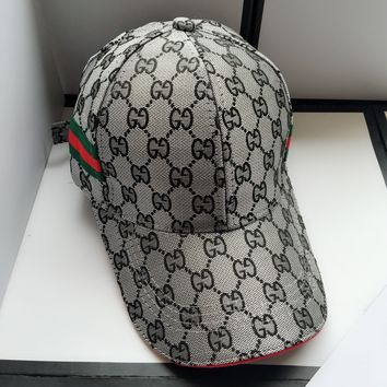 GUCCI Fashionable Women Men Casual Sports Sun Hat Baseball Cap Hat Grey