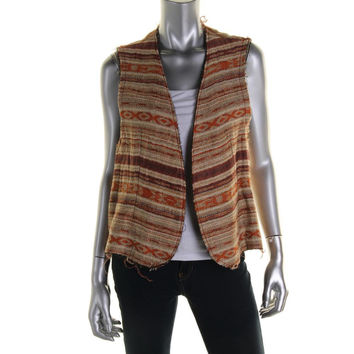 Catherine Malandrino Womens Tweed Open Front Casual Vest