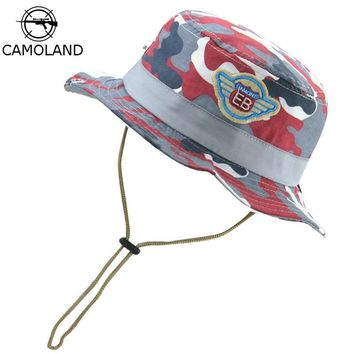 Sun Hat Kids Bucket Hat Cotton Summer Fishing Hiking Cap Boy Girl Panama Camouflage Hat Breathable Beach hat Outdoor Fisherman