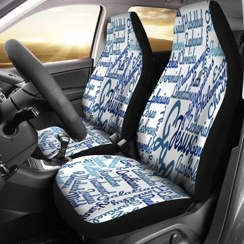 Custom-Made Holy Bible Books White Blue Car Seat Covers