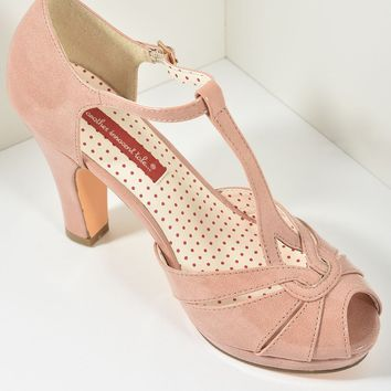 B.A.I.T. Peach Patent Leatherette Peep Toe T-Strap Lacey Heels