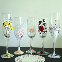 Beautiful Hand Decorated Wedding or Anniversary Champagne Glasses Toasting Flutes Beads Polymer Clay Flowers