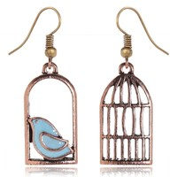 Vintage Gold Color Fashion Design Oil Bird-Cage Lovely Drop Earrings For Women Brincos Peace Dove Bird Cage Dangle Earrings