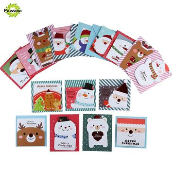 16 card+16 envelope /lot Cute Cartoon Small Santa Claus Snowman Merry Christmas Postcard Greeting Card Gift Card Christmas Cards