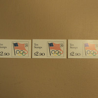 USPS Scott 2528a 29c 3 Books Flag Olympic Rings 30 Stamps 3 Panes Mint Booklet -- New