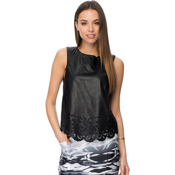 Black Sleeveless Leather Top with Wave Edge and Cut Out