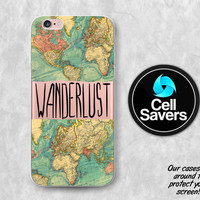 Wanderlust Clear iPhone 6s Case iPhone 6 Case iPhone 6 Plus iPhone 6s Plus iPhone 5c iPhone SE Clear Case Clear Case Map World Quote Travel