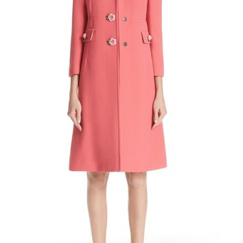 Dolce&Gabbana Rose Button Wool Coat | Nordstrom