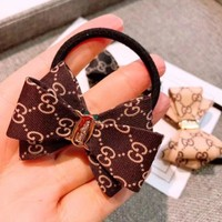 GUCCI Fashion New More Letter Bow-Knot Hair Rope Hair Accessories Coffee