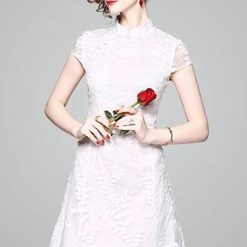 White Leaf Embroidered Organza Qipao Dress
